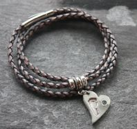 Slim leather bracelet with Hand, Footprint or Pawprint Charm